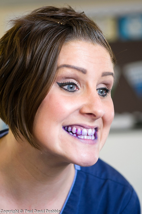 Oasis Lead Dental Nurse Mel Brown after using a disclosure tablet to reveal plaque in the mouth during the Oasis oral hygiene session at Hunloke Park Primary School on Tuesday<br /> 20 October 2015<br />  Image © Paul David Drabble <br />  www.pau ldaviddrabble.co.uk