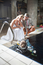 Scottish music star Darius Campbell & actress wife Natasha Henstridge take part in under water photo shoot at the Edinburgh Royal Commonwealth Pool to commemorate World Water Day 2013..©Michael Schofield..