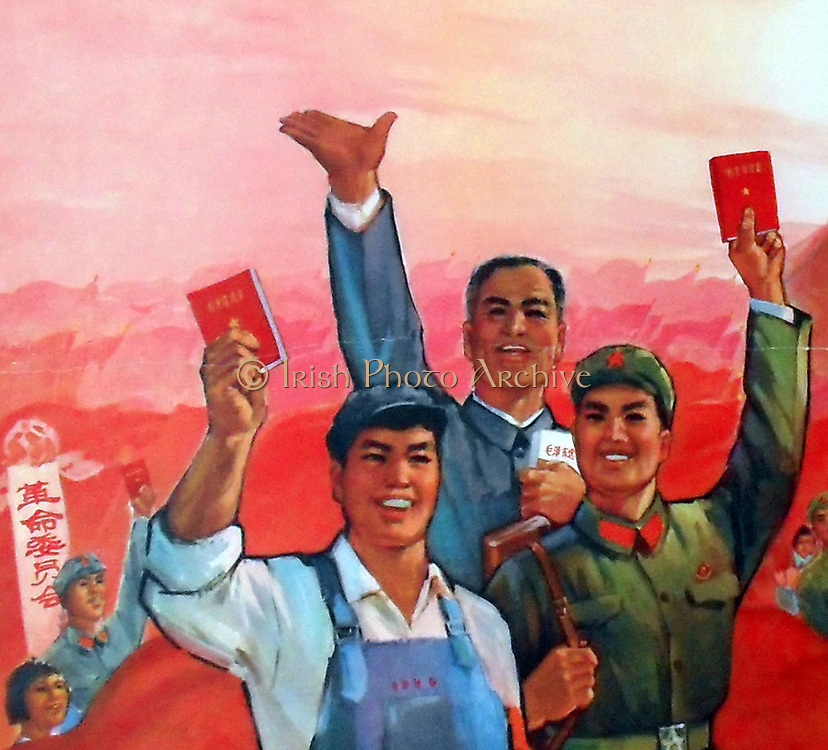 detail of a 1968 Cultural Revolution, Chinese Communist poster. Shows workers and soldier with the 'Thoughts of Chairman Mao Tse Tung' (Mao  Zedung).