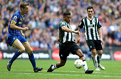 Reuben Reid of Plymouth Argyle passes the ball past Paul Robinson of AFC Wimbledon - Mandatory by-line: Robbie Stephenson/JMP - 30/05/2016 - FOOTBALL - Wembley Stadium - London, England - AFC Wimbledon v Plymouth Argyle - Sky Bet League Two Play-off Final