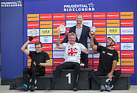 LONDON UK 29TH JULY 2016:  James Pierce (GBR) Jonathan Waters (GBR) Gary Donald (GBR). Prudential RideLondon Handcycle Grand Prix at the London Velo Park. Prudential RideLondon in London 29th July 2016<br /> <br /> Photo: Jed Leicester/Silverhub for Prudential RideLondon<br /> <br /> Prudential RideLondon is the world&rsquo;s greatest festival of cycling, involving 95,000+ cyclists &ndash; from Olympic champions to a free family fun ride - riding in events over closed roads in London and Surrey over the weekend of 29th to 31st July 2016. <br /> <br /> See www.PrudentialRideLondon.co.uk for more.<br /> <br /> For further information: media@londonmarathonevents.co.uk