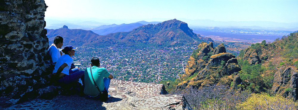 MEXICO, COLONIAL CITIES Tepoztlan from Tepozteco pyramid