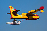 Greek Air force Canadair CL-415GR fire fighting plane Russian Beriev-200 in the background photographed in Israel December 2010