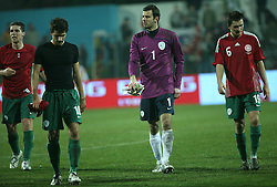 Slovenian national team after the UEFA Friendly match between national teams of Slovenia and Denmark at the Stadium on February 6, 2008 in Nova Gorica, Slovenia.  Slovenia lost 2:1. From left: Zinko, Stevanovic, Handanovic, Kirm. (Photo by Vid Ponikvar / Sportal Images).
