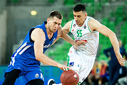 Sinisa Bilic of Rogaska vs Erjon Kastrati of Petrol Olimpija during basketball match between KK Petrol Olimpija and KK Rogaska in Round #5 of Liga Nova KBM za prvaka 2018/19, on March 31, 2019, in Arena Stozice, Ljubljana, Slovenia. Photo by Masa Kraljic / Sportida