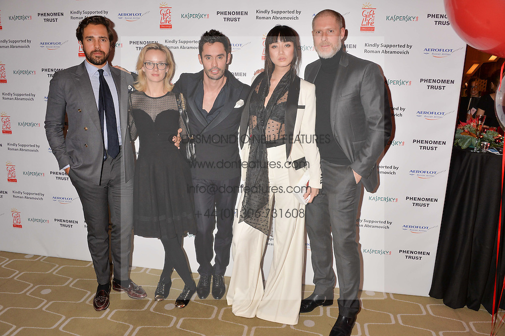 Left to right, Diego Bivero-Volpe, Charlotte Carroll, Jean Bernard Fernandez-Versini, Betty Bachz and Jean-David Malat at the Gift of Life held at The Royal Festival Hall on South Bank, London England. 14 January 2017.