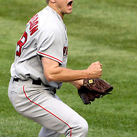 09 September 2007:  Boston Red Sox pitcher Jonathan Papelbon (58) yells out after pitching in the 9th inning against the Baltimore Orioles.  Papelbon pitched the 9th inning for his 35th save of the year as the Red Sox defeated the Orioles 3-2 at Camden Yards in Baltimore, MD.  ****For Editorial Use Only****