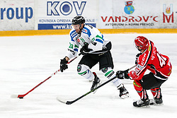 Anze Ropret of Olimpija and Ales Remar of Jesenice during ice hockey match between HDD SIJ Acroni Jesenice and HDD Telemach Olimpija in Final of Slovenian Cup 2015/2016, on December 1, 2015 in Podmezakla, Jesenice, Slovenia. (Photo By Matic Klansek Velej / Sportida)