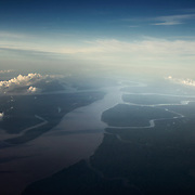 Aerial view of the delta of the Amazon River.