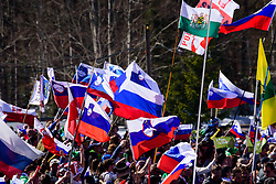 March 23, 2019 - Planica, Slovenia - Slovenian crowd with Slovenian flags cheering at the Planica FIS Ski Jumping World Cup finals  on March 23, 2019 in Planica, Slovenia. (Credit Image: © Rok Rakun/Pacific Press via ZUMA Wire)