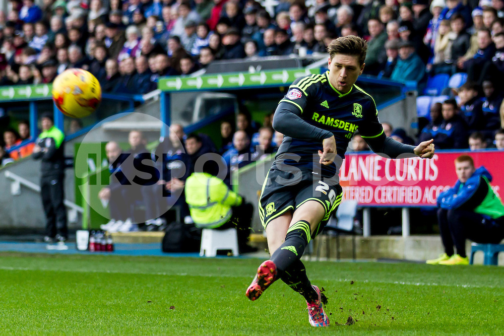 Adam Reach of Middlesbrough crosses the ball during the Sky Bet Championship match between Reading and Middlesbrough at the Madejski Stadium, Reading, England on 10 January 2015. Photo by Gareth  Brown.