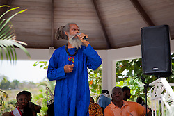 "Food fair honoree Delroy ""Ital"" Anthony uses his platform to address living conditions, land use, and other community issues affecting St. Johnians.  The Festival & Cultural Organization of St. John Presents It's Annual Food Fair honoring Delroy ""Ital"" Anthony and Royal Coronation 2016.  Franklin A. Powell, Sr. Park.  St. John, US Virgin Islands.  26 June 2016.  © Aisha-Zakiya Boyd"