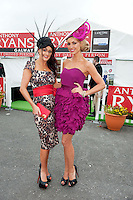 Catwalk modeling agency Mandy Maher and Rosanna Davison judge in  the Anthony Ryan's Best Dressed ladies day at the Galway . Photo:Andrew Downes.Photo issued with Compliments, No reproduction fee on first use