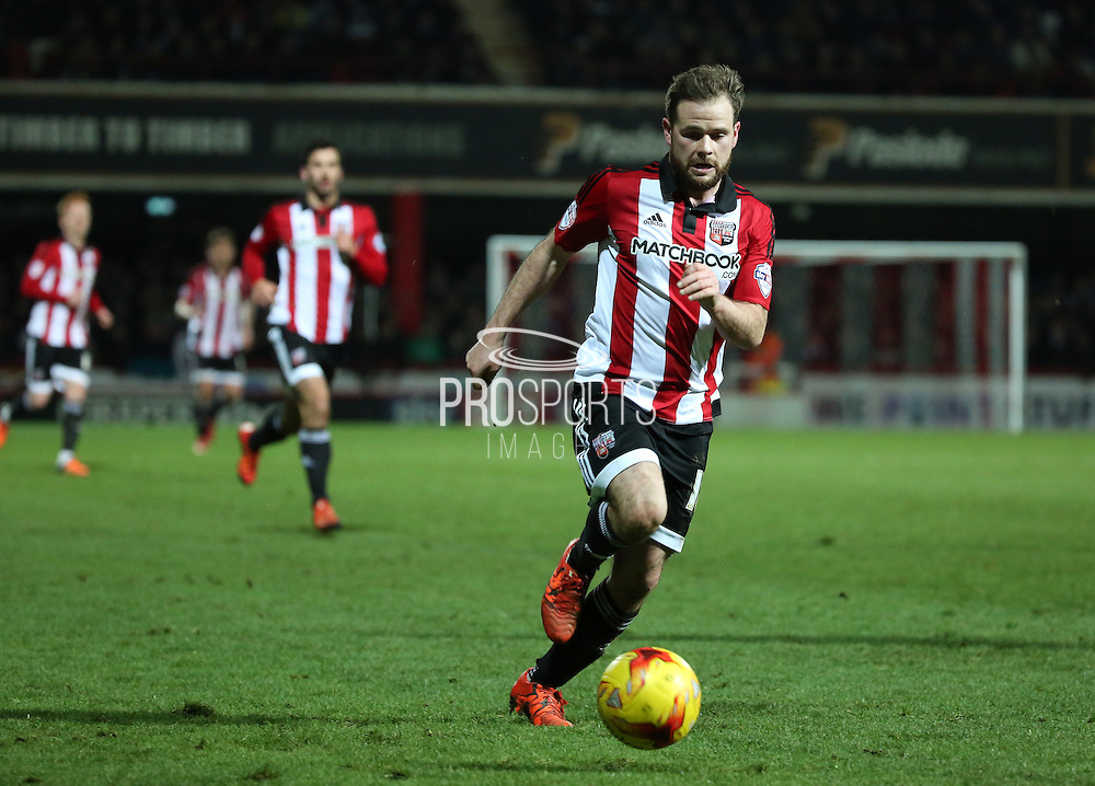 Brentford midfielder Alan Judge trying to inspire a Brentford fightback during the Sky Bet Championship match between Brentford and Burnley at Griffin Park, London, England on 15 January 2016. Photo by Matthew Redman.