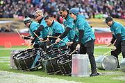 "The Jaguars ""D-Line"" Drummers during the International Series match between Jacksonville Jaguars and Philadelphia Eagles at Wembley Stadium, London, England on 28 October 2018."