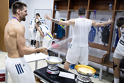 Gasper Vidmar of Slovenia ans Ziga Dimec of Slovenia celebrating in a locker room after winning during the Final basketball match between National Teams  Slovenia and Serbia at Day 18 of the FIBA EuroBasket 2017 when Slovenia became European Champions 2017, at Sinan Erdem Dome in Istanbul, Turkey on September 17, 2017. Photo by Sportida