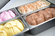 Various flavours of artisan ice-cream