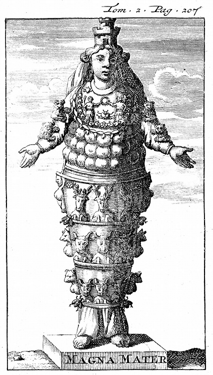 Cybele, the Great Mother: Wife of Saturn (Kronos) and mother of Jupiter and principal gods. Shown wearing her crown of towers. Phrygian goddess associated with fertility. Copperplate engraving 1702