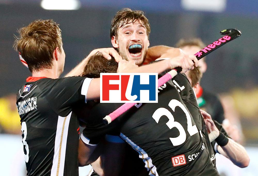 Odisha Men's Hockey World League Final Bhubaneswar 2017<br /> Match id:21<br /> India v Germany<br /> Foto: keeper Mark Appel (Ger) scored 1-1<br /> Mats Grambusch (Ger) and Niklas Bruns (Ger) <br /> WORLDSPORTPICS COPYRIGHT KOEN SUYK
