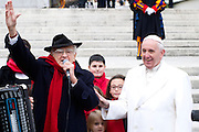 Vatican City dec 16th 2015, weekly general audience. In the picture pope Francis with the italian singer Teddy Reno