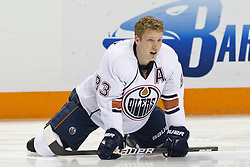 January 13, 2011; San Jose, CA, USA; Edmonton Oilers right wing Ales Hemsky (83) warms up before the game against the San Jose Sharks at HP Pavilion.  Edmonton defeated San Jose 5-2. Mandatory Credit: Jason O. Watson / US PRESSWIRE