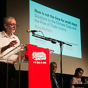 Jeremy Corbyn. A panel of speakers amongst others Jeremy Corbyn and Naomi Klein speak at an event organised by The Trade Unions for energy Talks in Paris, coinciding with the COP21.