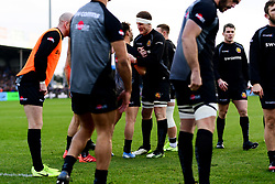 Nic White of Exeter Chiefs and Jacques Vermeulen of Exeter Chiefs warms up prior to kick off - Mandatory by-line: Ryan Hiscott/JMP - 29/12/2019 - RUGBY - Sandy Park - Exeter, England - Exeter Chiefs v Saracens - Gallagher Premiership Rugby