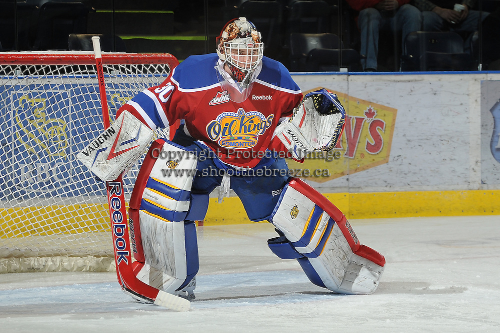 KELOWNA, CANADA - FEBRUARY 15:  Tristan Jarry #30 of the Edmonton Oil Kings warms up in net against the Kelowna Rockets on February 15, 2012 at Prospera Place in Kelowna, British Columbia, Canada (Photo by Marissa Baecker/Getty Images) *** Local Caption *** Tristan Jarry;