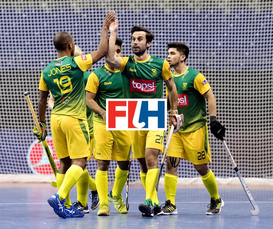 BERLIN - Indoor Hockey World Cup<br /> Men: Austria - South Africa<br /> foto: South Africa celebrate.<br /> WORLDSPORTPICS COPYRIGHT FRANK UIJLENBROEK