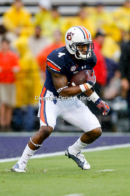 Sep 21, 2013; Baton Rouge, LA, USA; Auburn Tigers wide receiver Quan Bray (4) before a game against the LSU Tigers at Tiger Stadium. Mandatory Credit: Derick E. Hingle-USA TODAY Sports