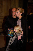 Ben Kingsley, wife Alexandra Kingsley and step-daughter Lois, , European premiere of Cirque de Soleil's Dralion, Royal Albert Hall and afterwards at the Natural History Museum, 8 January 2003.  .© Copyright Photograph by Dafydd Jones 66 Stockwell Park Rd. London SW9 0DA Tel 020 7733 0108 www.dafjones.com