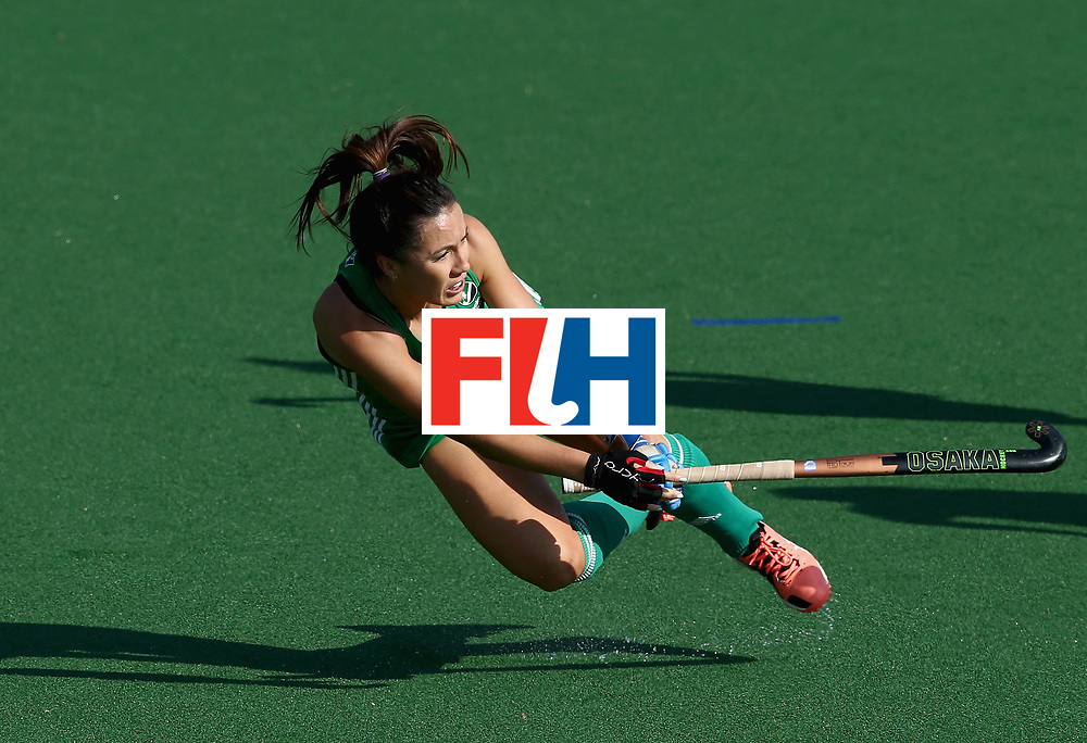 JOHANNESBURG, SOUTH AFRICA - JULY 12: Anna O'Flanagan of Ireland passes the ball during day 3 of the FIH Hockey World League Semi Finals Pool A match between Ireland and Poland at Wits University on July 12, 2017 in Johannesburg, South Africa. (Photo by Jan Kruger/Getty Images for FIH)