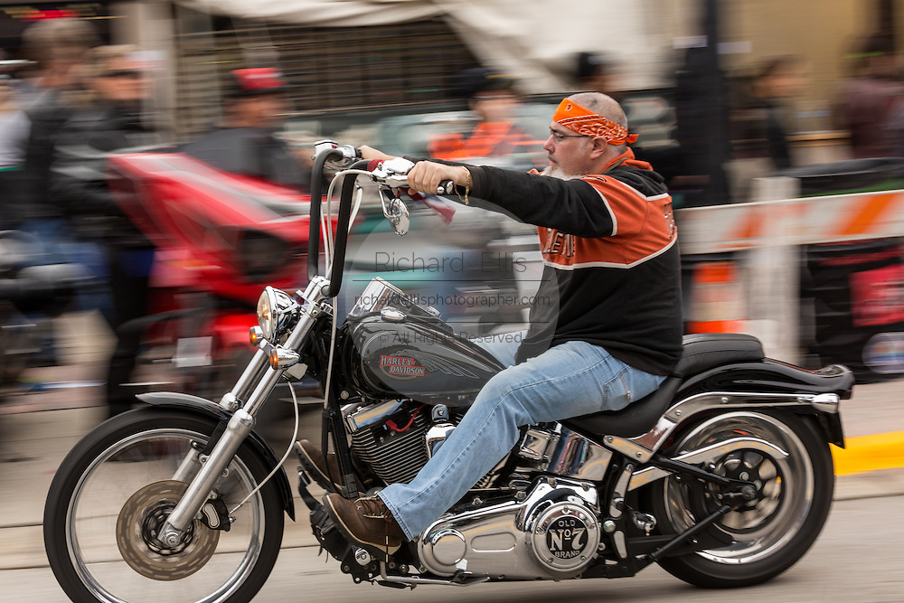 Bikers cruise down Main Street during the 74th Annual Daytona Bike Week March 7, 2015 in Daytona Beach, Florida.