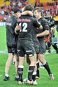 Sharks celebrate their win in the Super 15 Rugby (Quarter Final) fixture between the Queensland Reds and the South Africa Sharks played at Suncorp Stadium (Brisbane) on Saturday 21st July 2012 ~ Editorial Use only in accordance with QRU Terms & Conditions ~ Photo Credit Required : Steven Hight / photosport.co.nz
