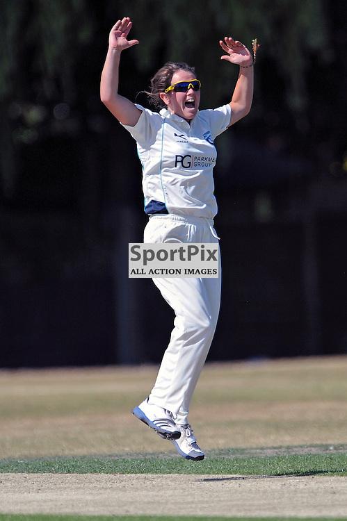 Sam Haggo celebrates taking the wicket of Danielle Ransley. Hampshire Women v Scotland Women - ECBCC3 - 15 July 2013 (c) Dave Vokes | SportPix.org.uk
