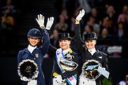 Prijsuitreiking 1. Isabell Werth - Weihegold, Laura Graves - Veradus, 3. Jessica von Bredow Werndl - Unee BB<br /> FEI Longines FEI World Cup Paris 2018<br /> &copy; DigiShots