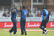Rashid Khan (Afghanistan) of ICC World XI celebrates after taking the wicket of Evin Lewis during the International Twenty/20 match at Lord's, London<br /> Picture by Simon Dael/Focus Images Ltd 07866 555979<br /> 31/05/2018