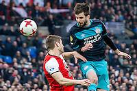 ROTTERDAM - Feyenoord - PSV , Voetbal , Eredivisie , Seizoen 2016/2017 , De Kuip , 26-02-2017 ,  PSV speler Davy Propper in kop duel met Feyenoord speler Jan Arie van der Heijden (l)