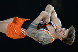 October 3, 2017 - Montreal, Quebec, Canada - CASIMIR SCHMIDT, from the Netherlands, competes on the floor exercise during the second day of competition held at the Olympic Stadium in Montreal, Quebec. (Credit Image: © Amy Sanderson via ZUMA Wire)