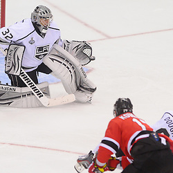 June 9, 2012: Los Angeles Kings goalie Jonathan Quick (32) makes a catching glove save on New Jersey Devils left wing Ilya Kovalchuk (17) during third period action in game 5 of the NHL Stanley Cup Final between the New Jersey Devils and the Los Angeles Kings at the Prudential Center in Newark, N.J. The Devils defeated the Kings 2-1.