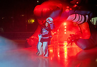 KELOWNA, CANADA - SEPTEMBER 22:  James Porter #1 of the Kelowna Rockets enters the ice against the Kamloops Blazers on September 22, 2018 at Prospera Place in Kelowna, British Columbia, Canada.  (Photo by Marissa Baecker/Shoot the Breeze)  *** Local Caption ***