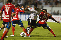 20120307: SAO PAULO, BRAZIL - Player  Viveros; Paulinhos and Villarreal during Corinthians (Brasil) vs Nacional (Paraguai) for Copa Libertadores held at Pacaembu stadium in SP<br />