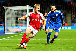 Kyle Dempsey of Fleetwood Town takes on Vicente Iborra of Leicester City - Mandatory by-line: Robbie Stephenson/JMP - 16/01/2018 - FOOTBALL - King Power Stadium - Leicester, England - Leicester City v Fleetwood Town - Emirates FA Cup third round proper