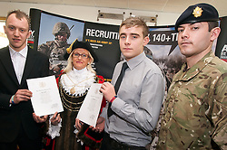 Jack Hargreaves and Jamie Sheppard of Retford holding their British Army Oath of Allegiance certificates with Civic Mayor of Doncaster Cllr Eva Hughes and Pvt Flemming of 3 LSR at a ceremony to mark their formal enlistment in the British Army at Doncaster Trades Club Thier next step will be to undertake basic training   ..www.pauldaviddrabble.co.uk..1st February 2012 -  Image © Paul David Drabble
