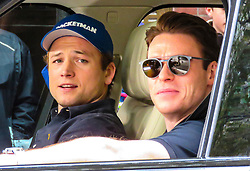 """© Licensed to London News Pictures. 28/10/2018. London, UK. British actors Taron Egerton (Star of Kingsmen) and Richard Madden (star of Bodyguard), both of whom are to feature in """"Rocketman"""" the Elton John biopic, filming for a CBS television production in a Range Rover in Westminster, London. Photo credit: Graham Long/LNP"""
