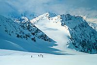 Skiing down Brenay Glacier, Haute Route, Switzerland