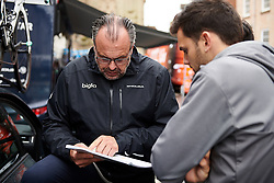 Bigla Pro Cycling Team Manager, Thomas Campana  discusses the plan for the day at Stage 4 of 2019 OVO Women's Tour, a 158.9 km road race from Warwick to Burton Dassett, United Kingdom on June 13, 2019. Photo by Sean Robinson/velofocus.com