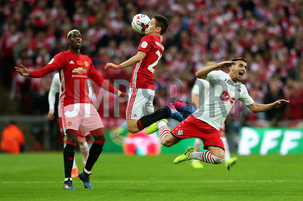Ander Herrera of Manchester United collides with Dusan Tadic of Southampton  - Mandatory by-line: Matt McNulty/JMP - 26/02/2017 - FOOTBALL - Wembley Stadium - London, England - Manchester United v Southampton - EFL Cup Final