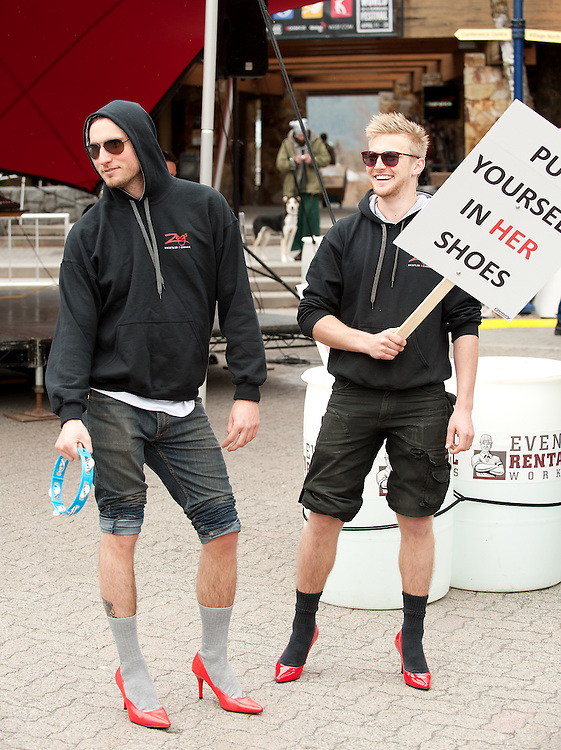 (L-R) Jeremy Pagee and Nick Tirrell at the Walka Mile in Her Shoes event.  Sunday, April 20th, 2014.<br /> <br /> Photo Credit: David Buzzard