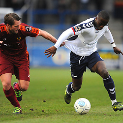 TELFORD COPYRIGHT MIKE SHERIDAN 5/1/2019 - Dan Udoh of AFC Telford is dragged back by Robert Atkinson during the Vanarama Conference North fixture between AFC Telford United and Spennymoor Town.